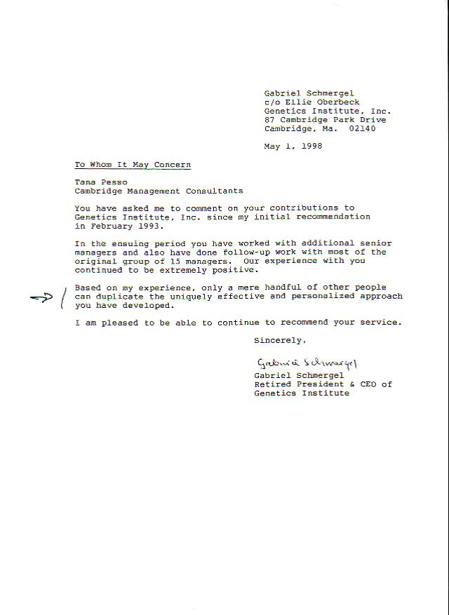 ceo recommendation letter sample